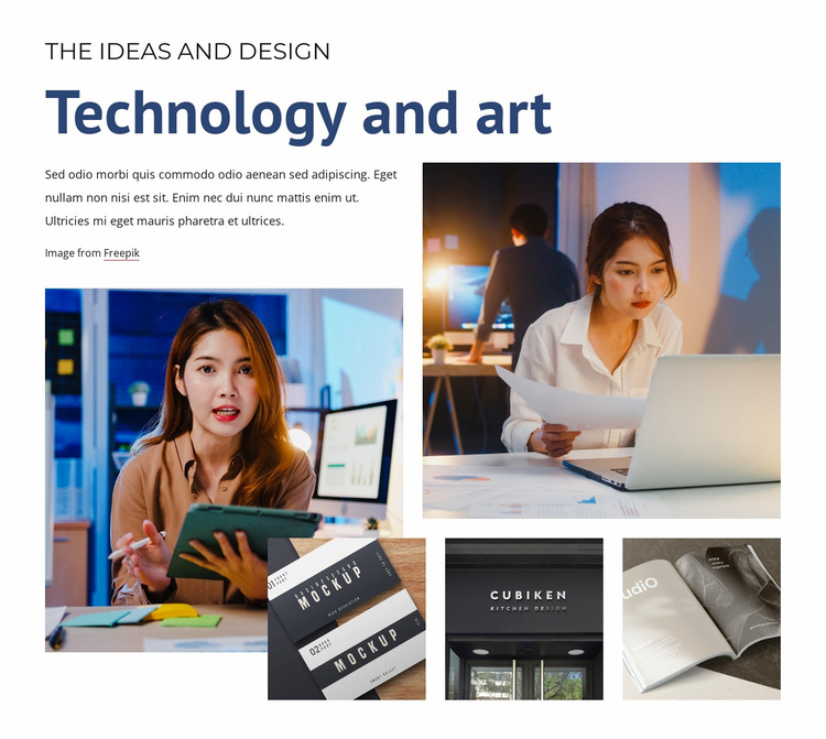 Technology and art Landing Page