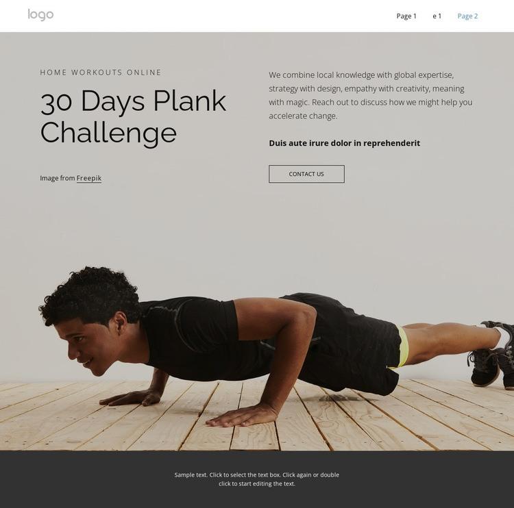 Plank challenge Html Code Example
