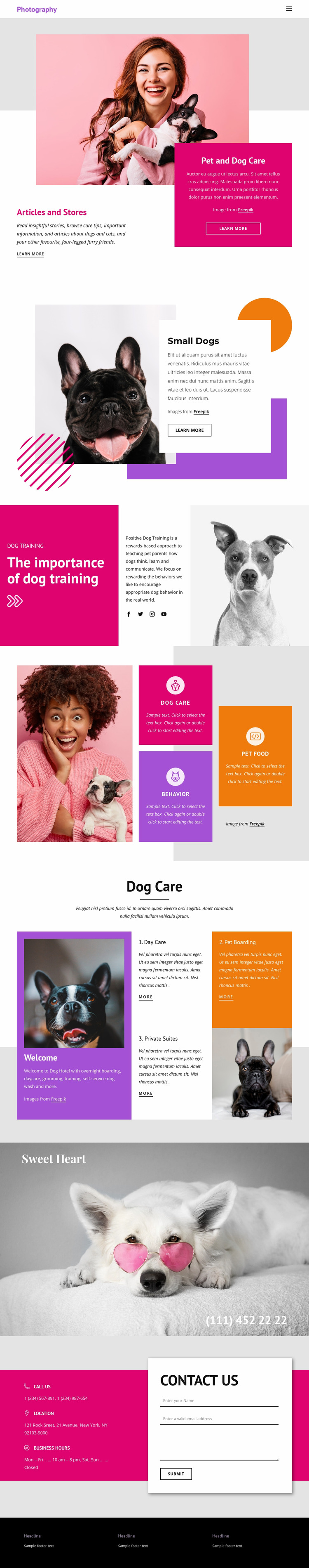 Pets Stories Html Website Builder