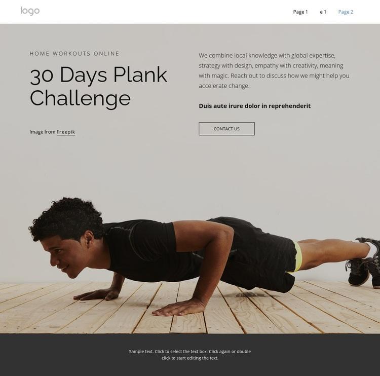 Plank challenge WordPress Website