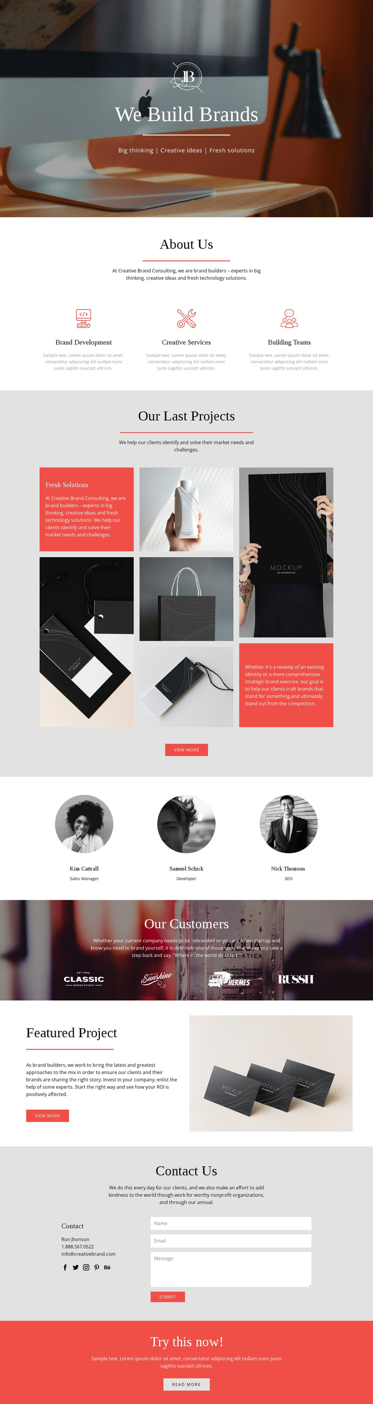 We build brands One Page Template