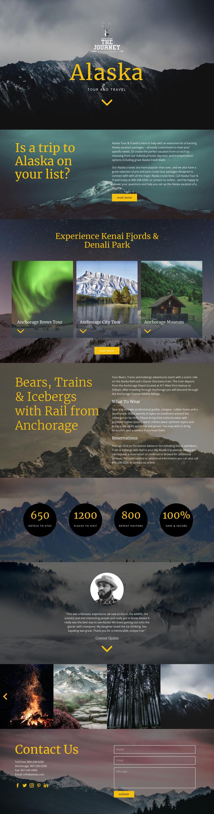 Alaska Travel Html Website Builder