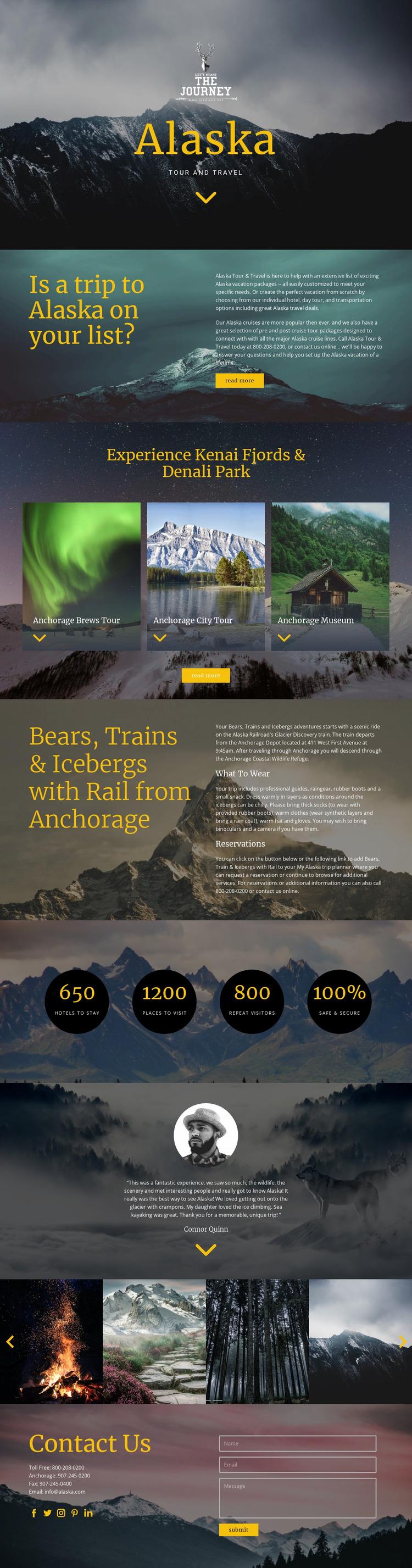 Alaska Travel Website Mockup