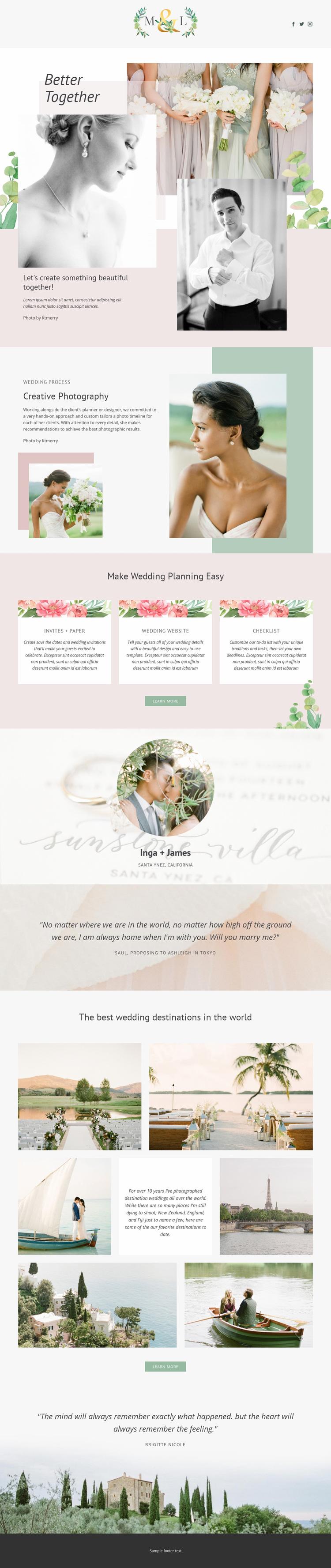 Wedding Photography Web Page Designer