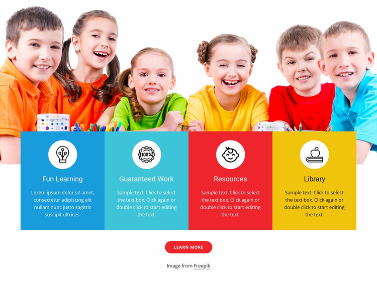 Games and activities for kids Website Mockup
