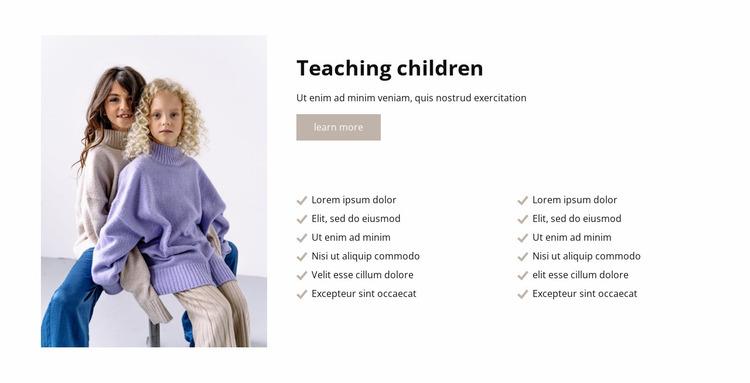 Teaching children Website Mockup