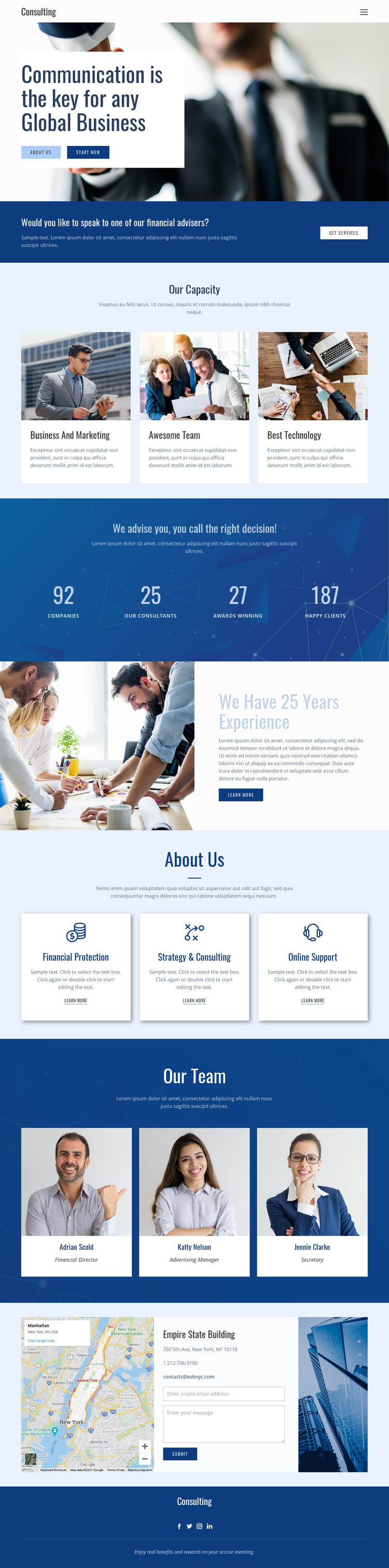 Key to global business One Page Template