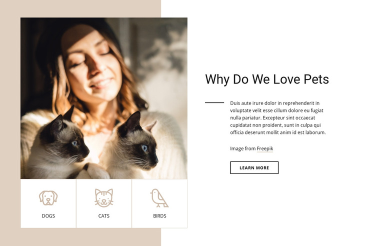 Why do we love pets HTML Template