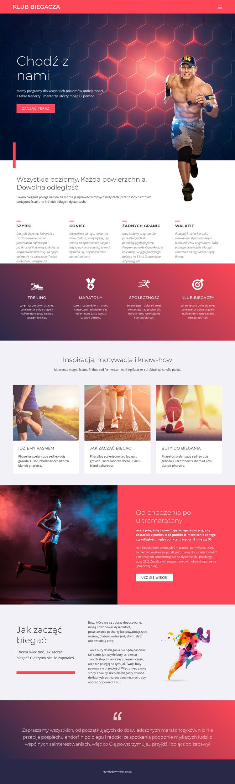 Bieganie i sport Szablon witryny sieci Web