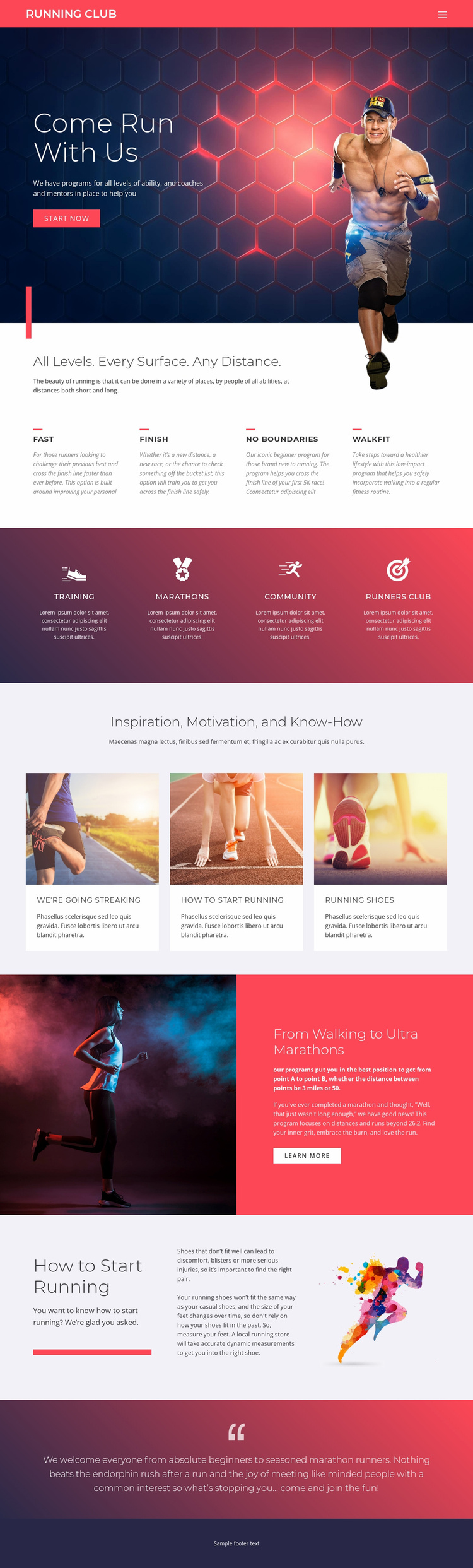 Running and sports Landing Page