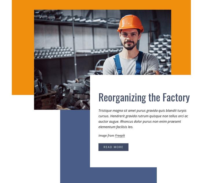 Reorganizing the factory Web Design