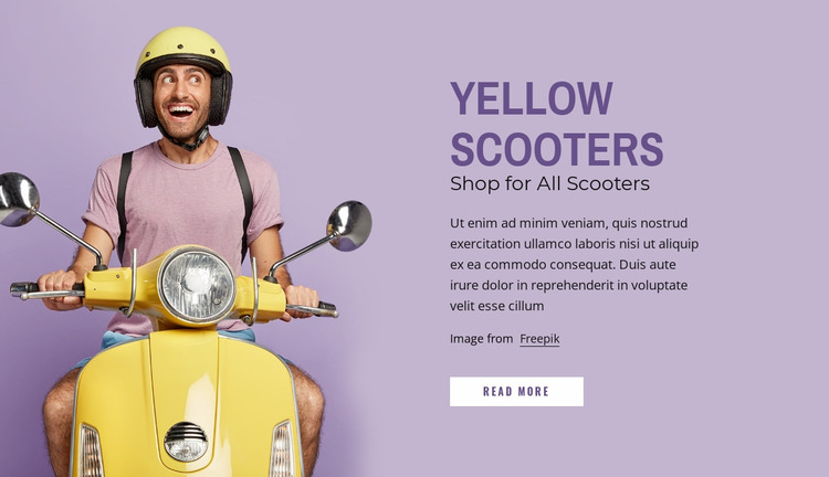 Yellow scooters Website Mockup