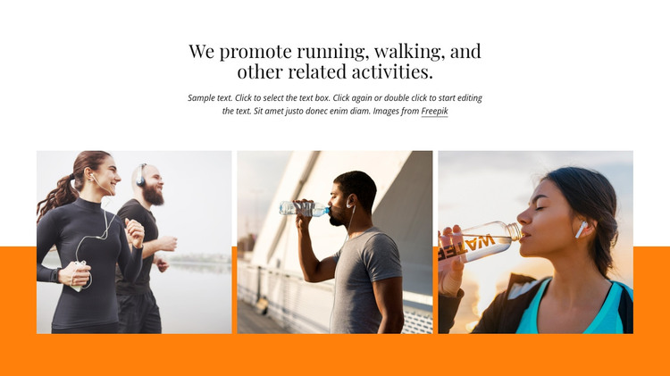 We promote running events Woocommerce Theme
