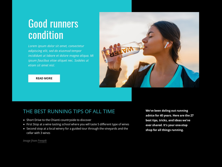 Good runners condition One Page Template