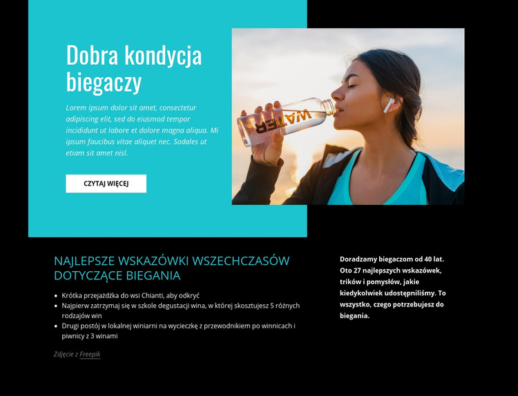 Dobra kondycja biegaczy Szablon witryny sieci Web
