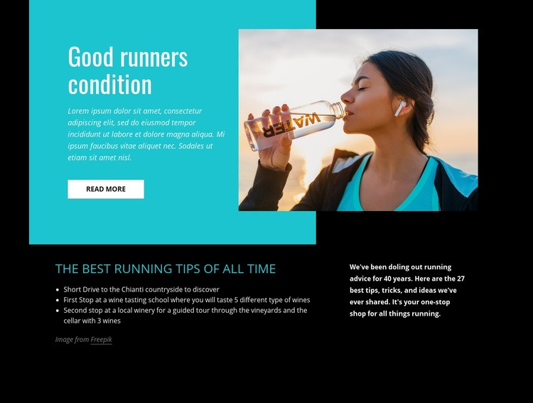 Good runners condition Web Page Designer