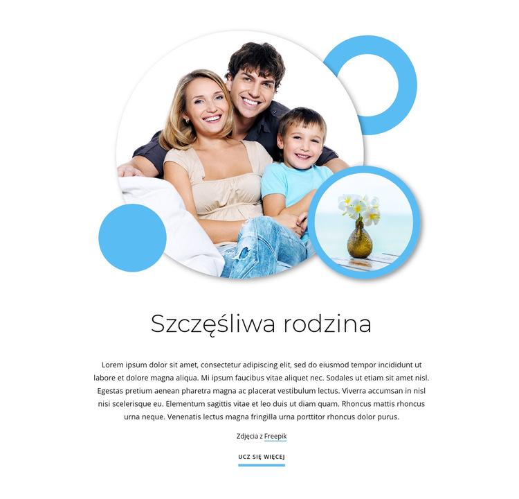 Szczęśliwe artykuły rodzinne Szablon witryny sieci Web
