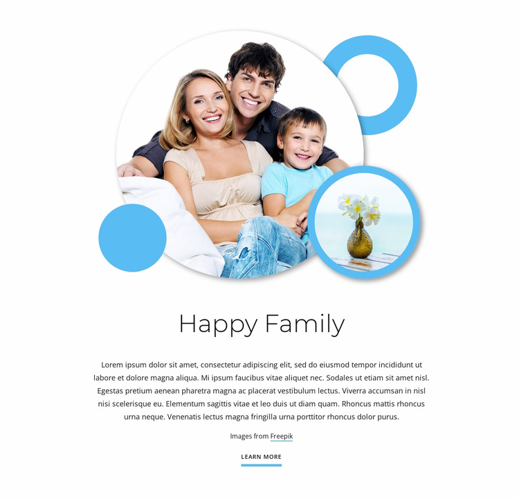 Happy family articles Landing Page