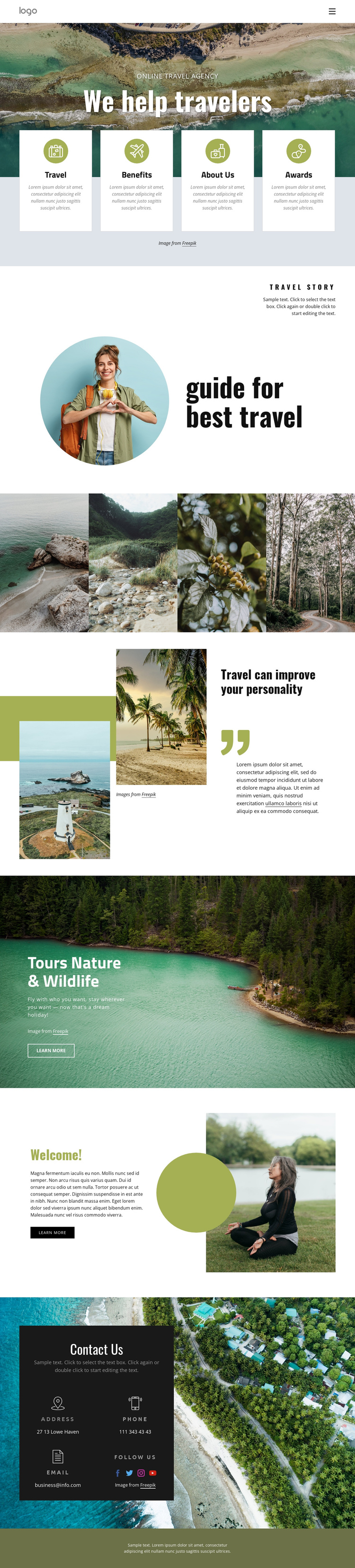 We help manage your trip One Page Template