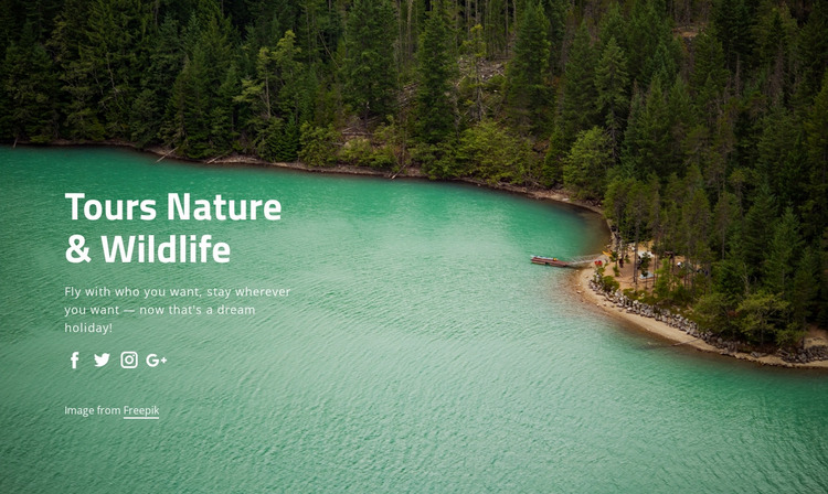 Tours nature and widlife Website Mockup