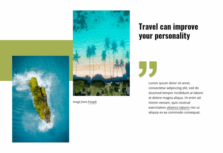 Travel can improve your personality Website Mockup