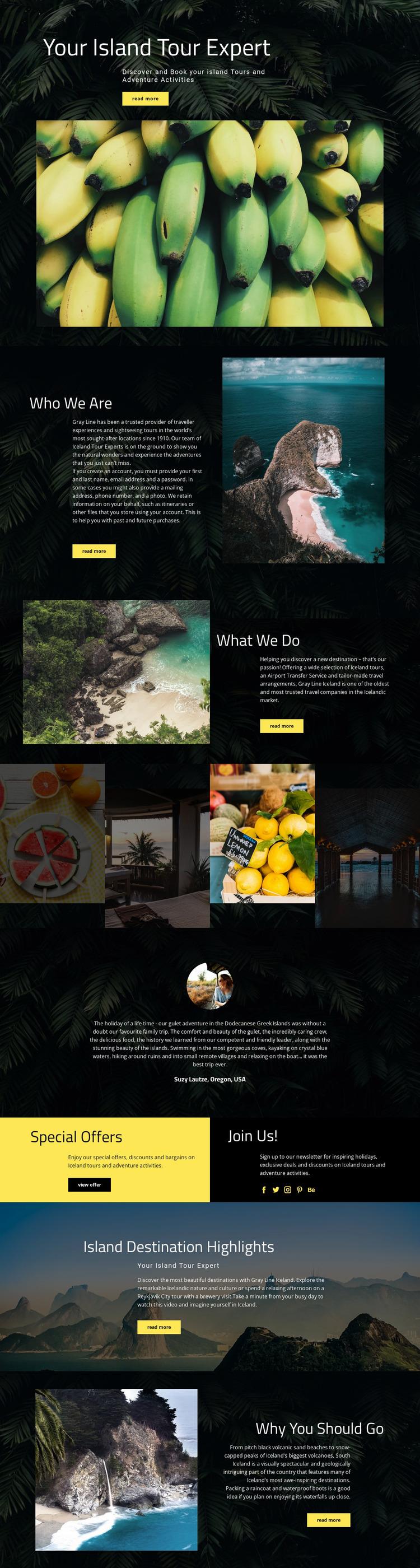 Island Travel Website Mockup