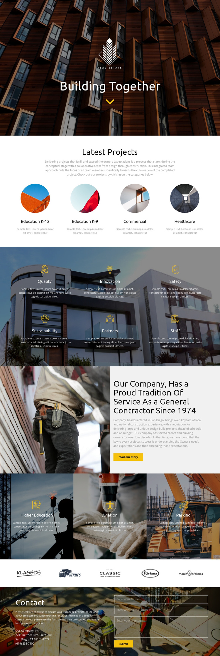 Building One Page Template