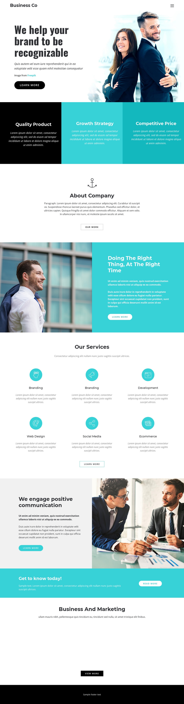Business company One Page Template