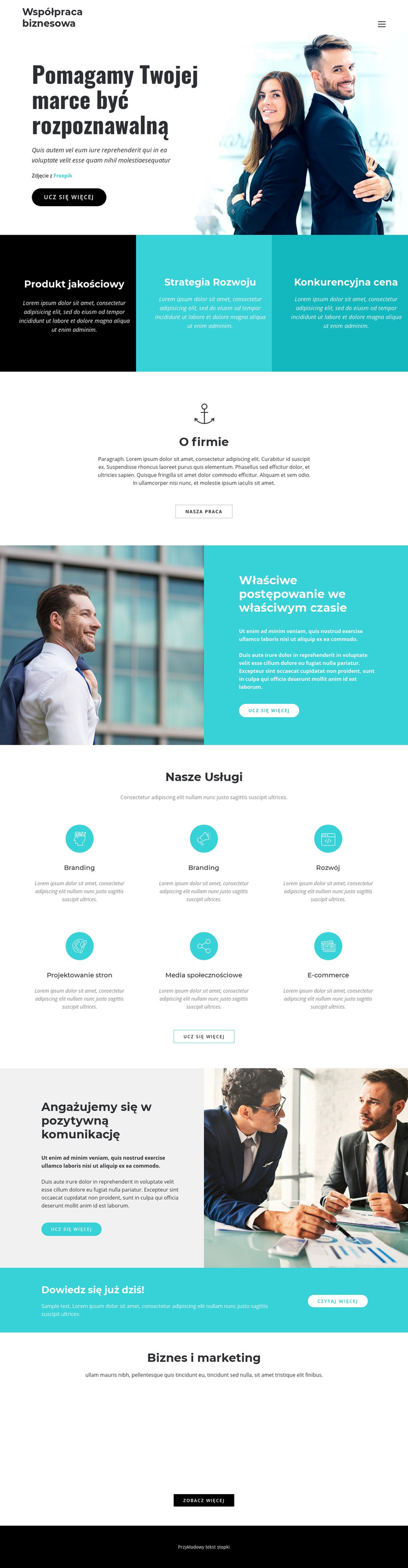 Firma biznesowa Szablon witryny sieci Web