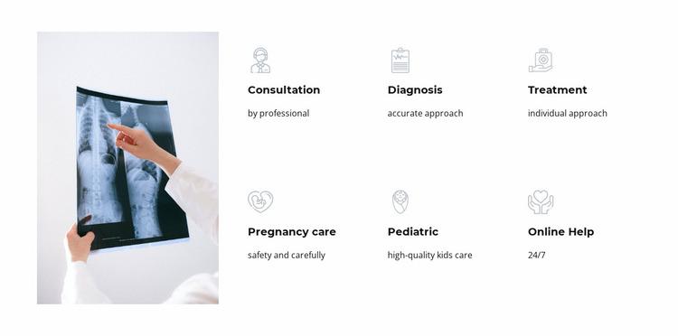 Services of our medical center Website Mockup