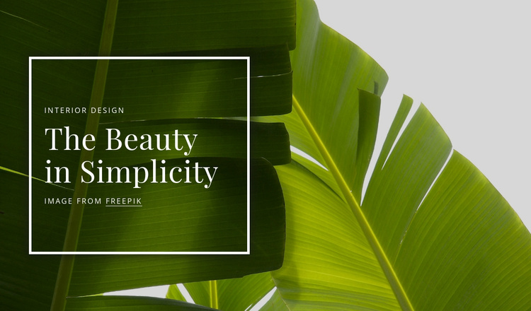 The beauty in simpliciy Landing Page
