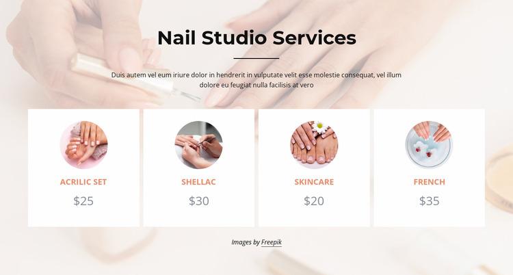 Nails studio services Website Mockup