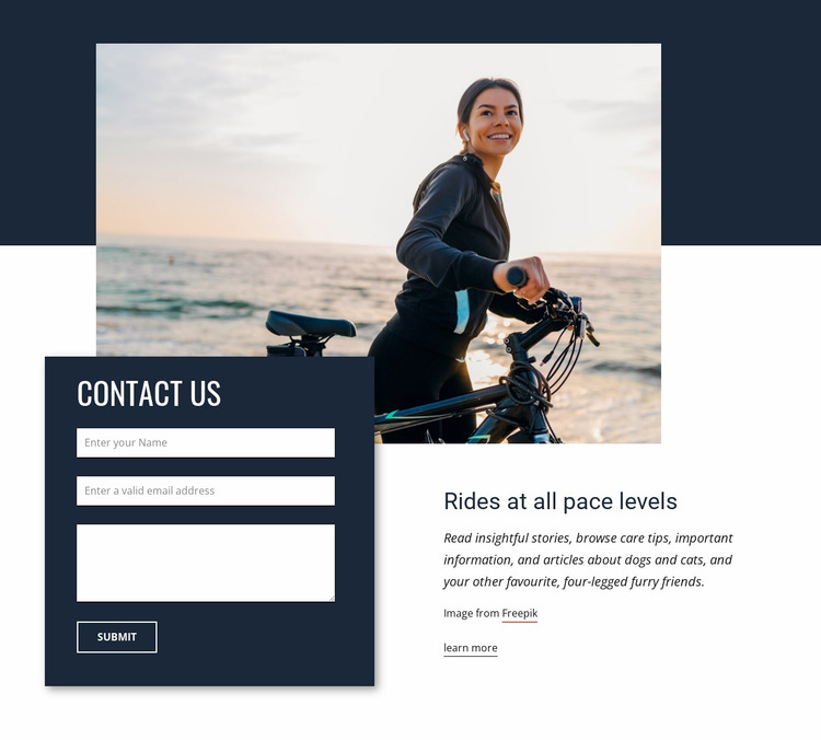 Rides at all pace levels Website Mockup