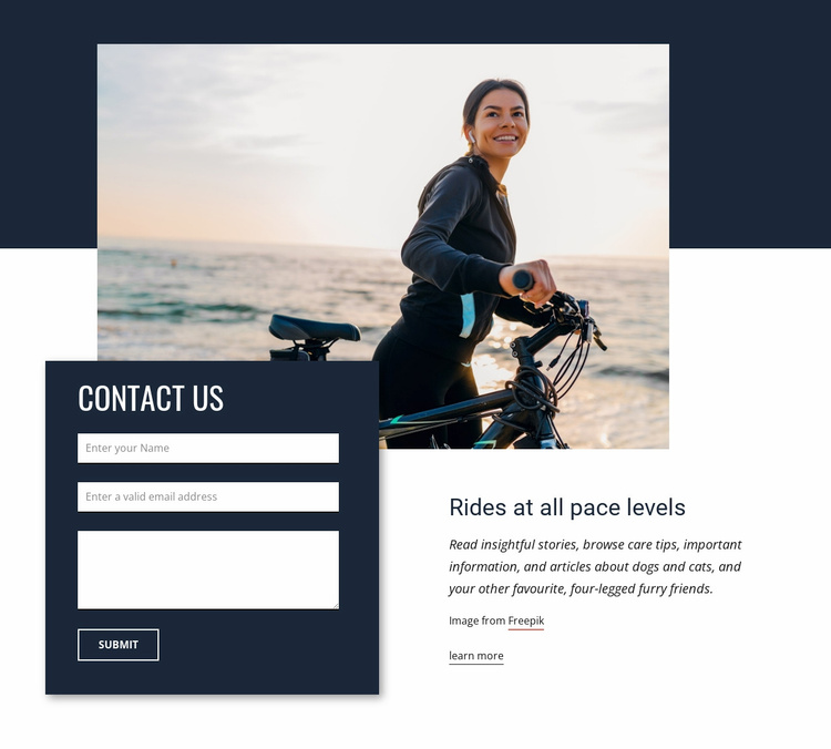 Rides at all pace levels Website Template
