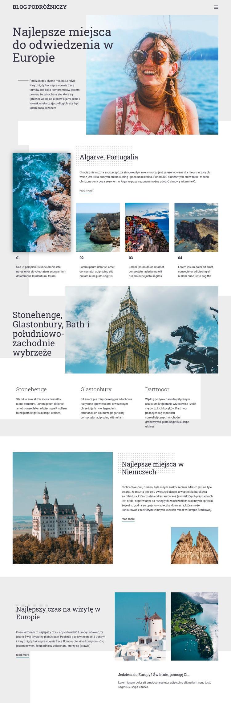 Blog podróżniczy Szablon witryny sieci Web