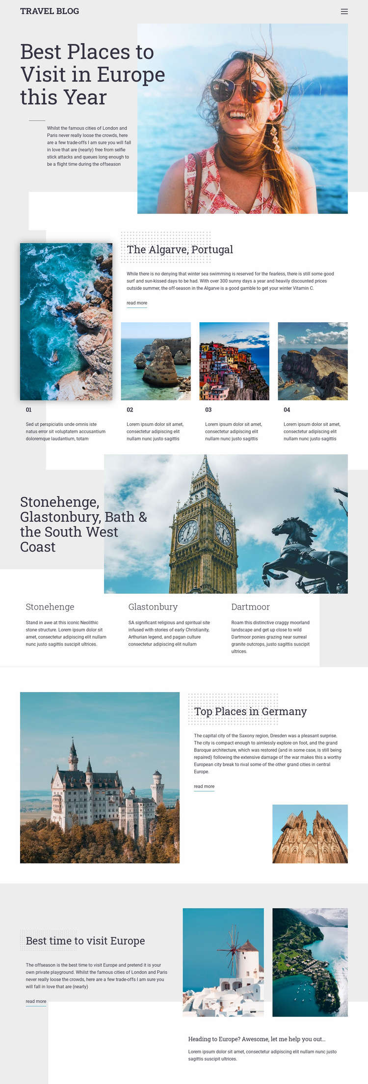 Travel Blog Web Page Design