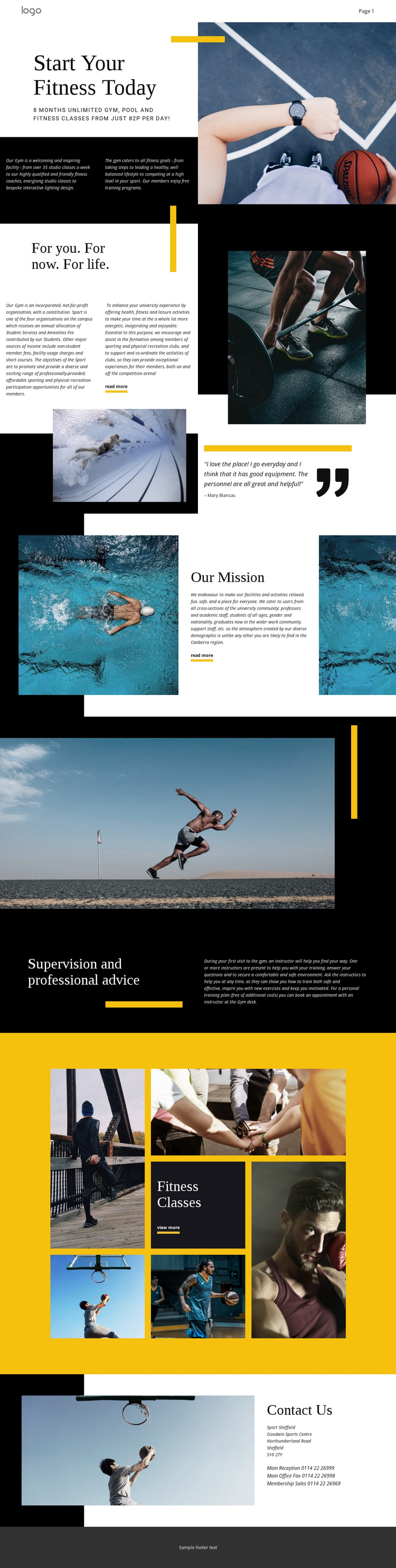 Professional fitness One Page Template