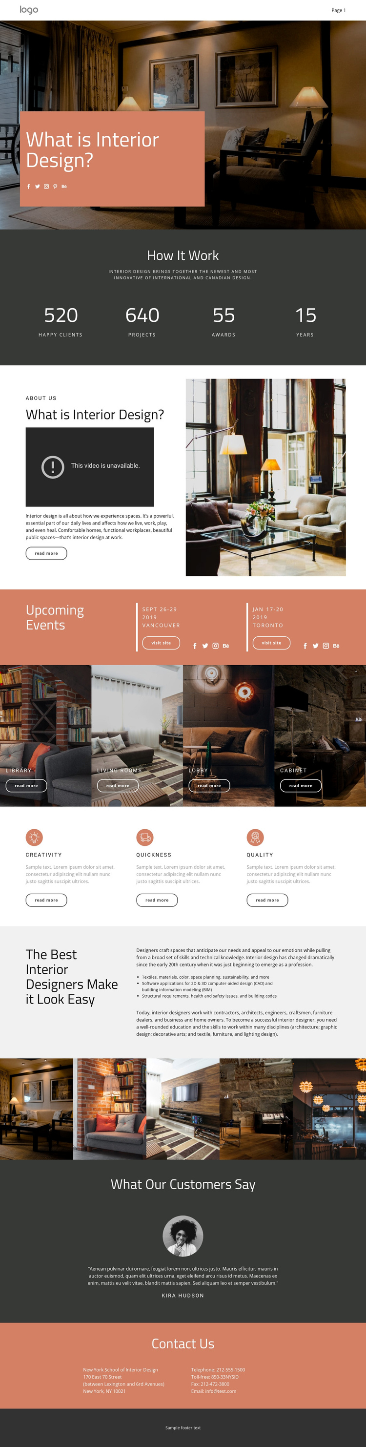 Design of houses and apartments One Page Template