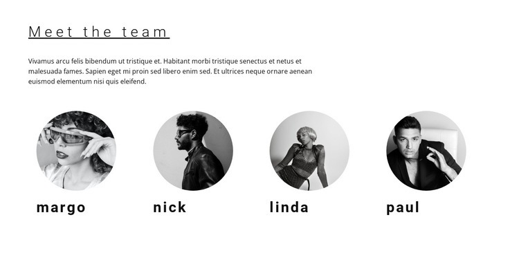 Our team of workers Homepage Design