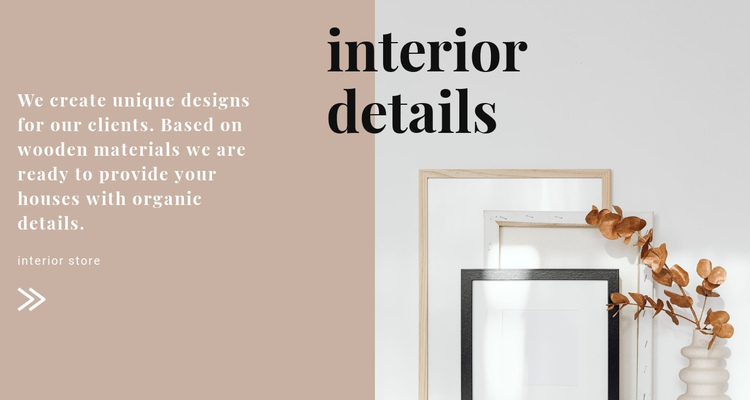 Interior solutions from the designer One Page Template