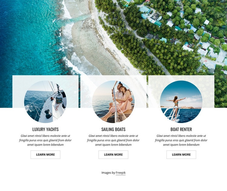 Exclusive yacht club Web Page Design