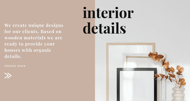 Interior solutions from the designer Website Mockup