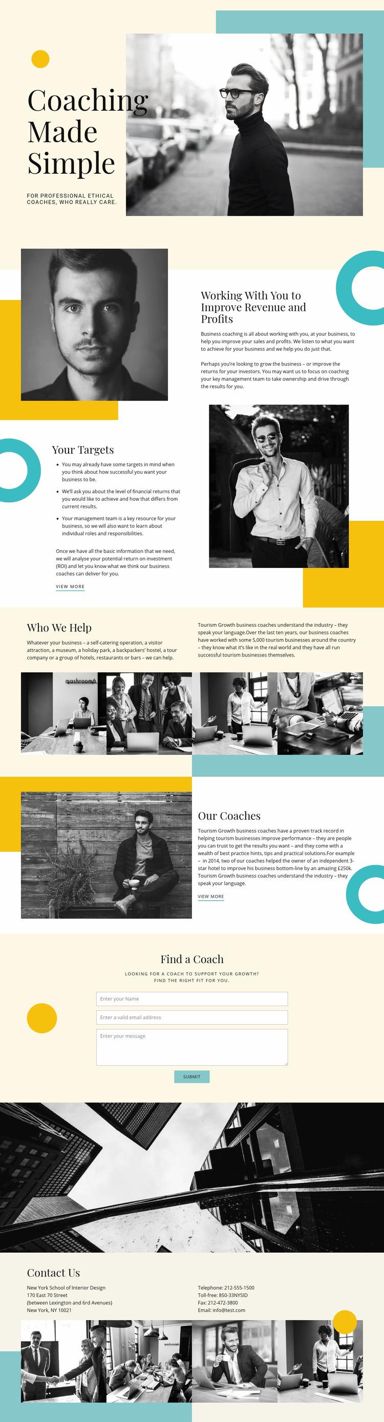 Coaching Company Web Page Design