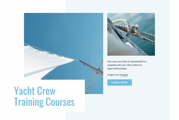 Yacht crew training courses Website Template