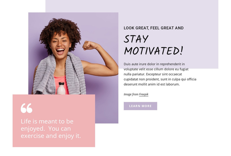 Stay motivated Joomla Page Builder