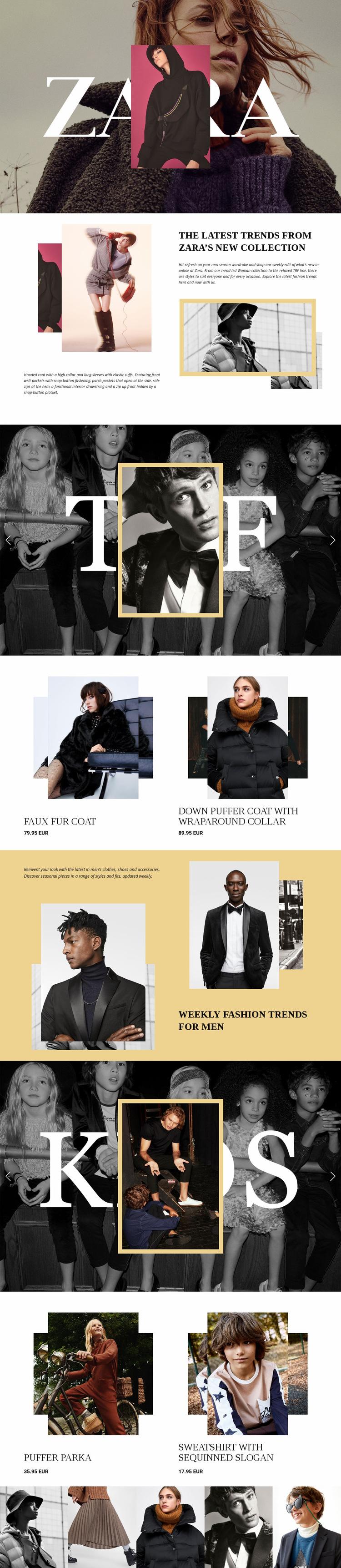 Zara Web Page Design