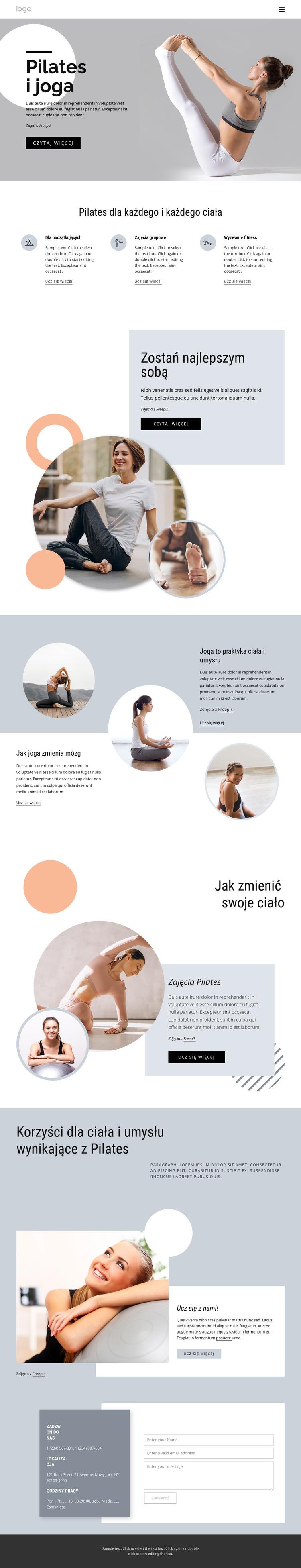 Pilates i centrum jogi Szablon witryny sieci Web