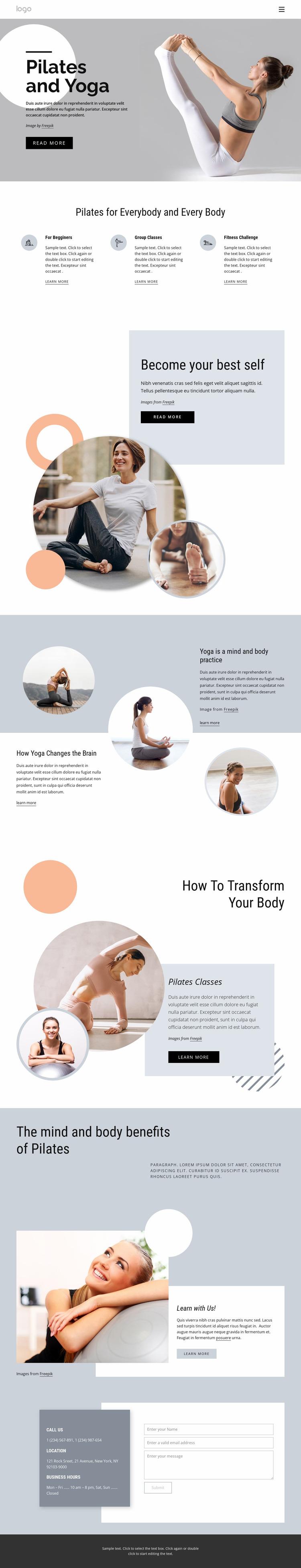 Pilates and yoga center Website Mockup