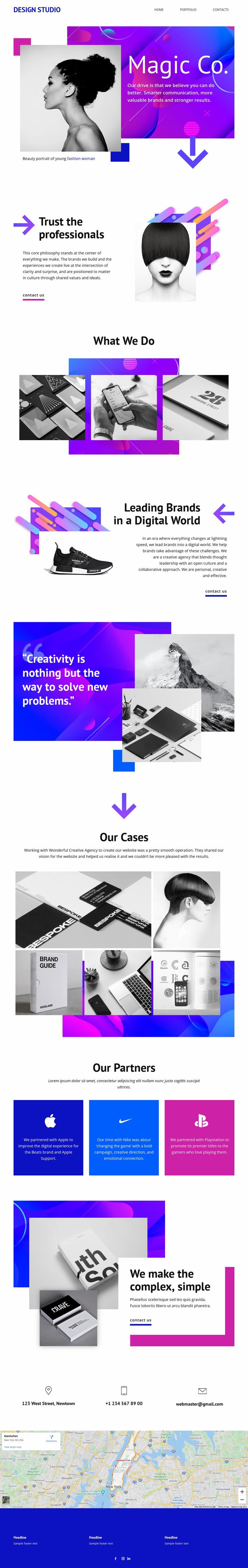 Magic Creative Studio Web Page Design