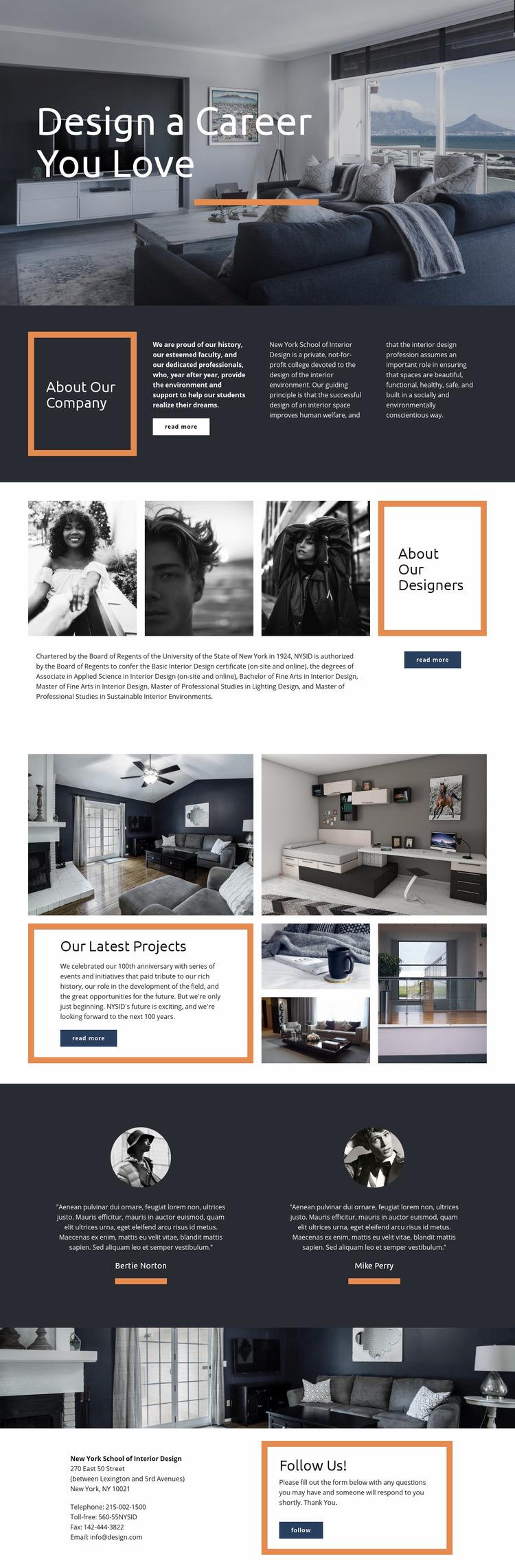 Design a Career You Love Web Page Design